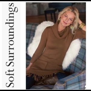 Soft Surroundings Cowlneck Fringed Brown Sweater